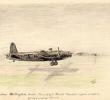 Vickers Wellington pencil sketch by Chris Neal