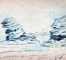 Rocky beach pencil sketch by ChrisNeal
