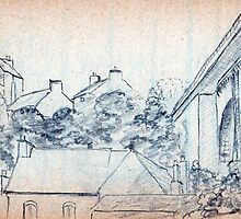 Dinan landscape pecil sketch by ChrisNeal