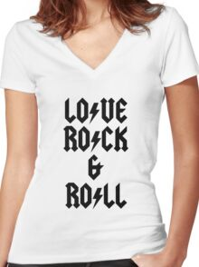 LOVE ROCK AND ROLL Women's Fitted V-Neck T-Shirt