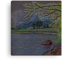 River and countryside pastel sketch Canvas Print