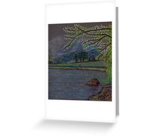 River and countryside pastel sketch Greeting Card