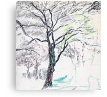 Tree in Winter pastel sketch Canvas Print