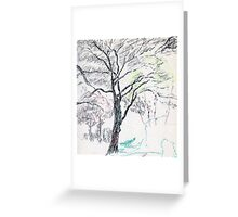 Tree in Winter pastel sketch Greeting Card