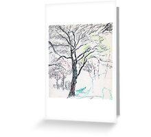 Tree in Winter pastel sketch Greeting Card