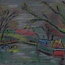 Boats on river-pastel sketch by Chris Neal