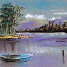 River landscape-pastel sketch by Chris Neal