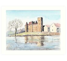Nemours chateau and river Loing-watercolour Art Print