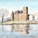 Nemours chateau and river Loing-watercolour by ChrisNeal
