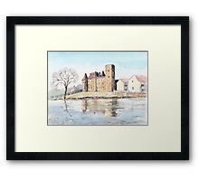 Nemours chateau and river Loing-watercolour Framed Print