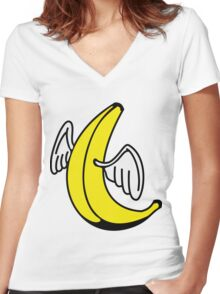 Flying Banana with Angel-Wings Women's Fitted V-Neck T-Shirt