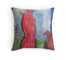 Lady with Dog. Throw Pillow