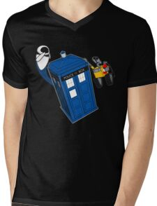 Tardis Space Dance - Wall-e & Eve Mens V-Neck T-Shirt