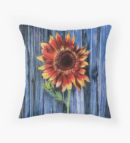 Sunflower on Blue Fence Throw Pillow
