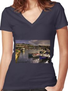 Boats at Brixham Women's Fitted V-Neck T-Shirt