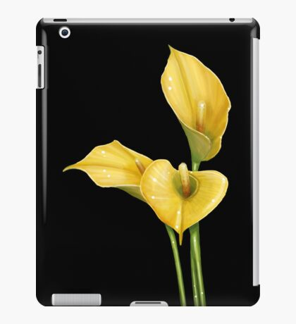 Yellow Flowers on Black iPad Case/Skin