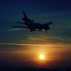DC-10 landing in sunset by Karl  Zielke