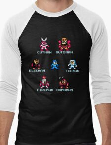 Megaman surrounded 1 with text Men's Baseball ¾ T-Shirt