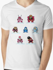 Megaman surrounded 1 with text Mens V-Neck T-Shirt