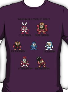 Megaman Who will you fight (black text) T-Shirt