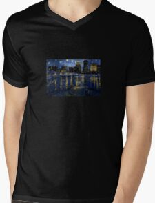 Future Starry Night on the Rhone  Mens V-Neck T-Shirt