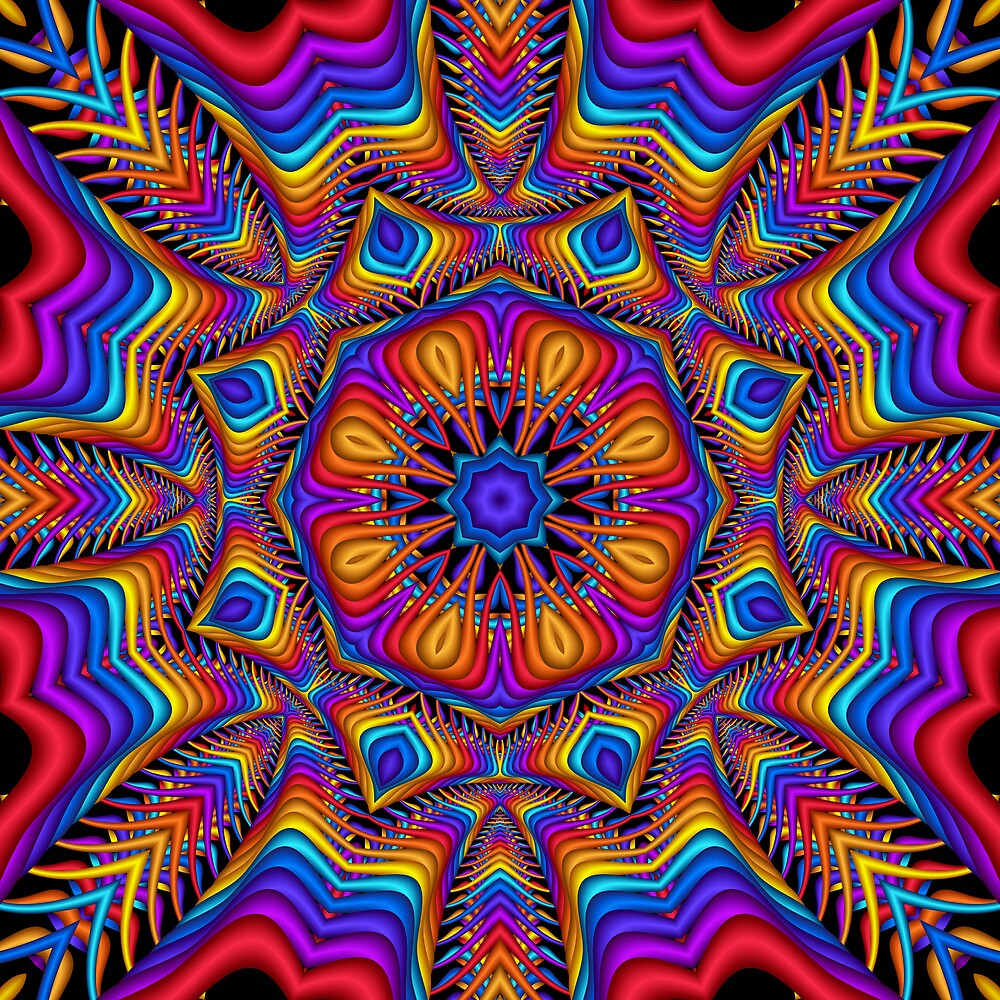 Fantasy Floral Kaleidoscope fractal artwork by walstraasart