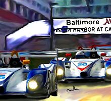 Baltimore Grand Prix, racing by Inner Harbor Marriott Hotel  by Tom  Sachse