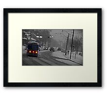 Streetcar in the Snowstorm Framed Print