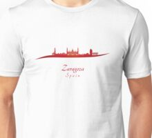 Zaragoza skyline in red Unisex T-Shirt