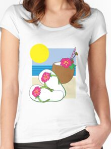 Flip Flops and Drink Women's Fitted Scoop T-Shirt