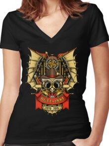 OWL STEAMPUNK Women's Fitted V-Neck T-Shirt