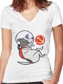 Laika the Space Dog Women's Fitted V-Neck T-Shirt
