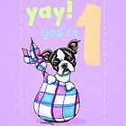 Baby First Birthday Boston Terrier Puppy Card by offleashart