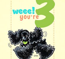 Kids Birthday Age 3 Cocker Spaniel Card by offleashart