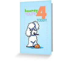 Kids Birthday Age 4 Poodle Card Greeting Card