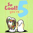 Kids Birthday Age 5 Lhasa Apso Card by offleashart