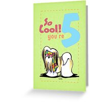 Kids Birthday Age 5 Lhasa Apso Card Greeting Card