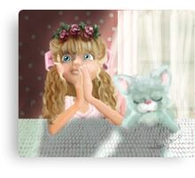 Bedtime Prayers: Big eyed Girl and her cat Canvas Print