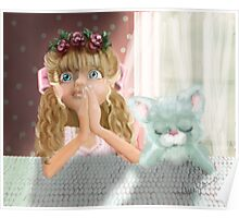 Bedtime Prayers: Big eyed Girl and her cat Poster