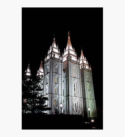 LDS Salt Lake Temple by night Photographic Print