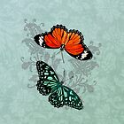 Butterflies on Aqua Floral by SpiceTree