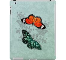 Butterflies on Aqua Floral iPad Case/Skin