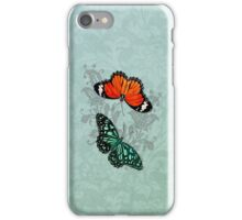 Butterflies on Aqua Floral iPhone Case/Skin