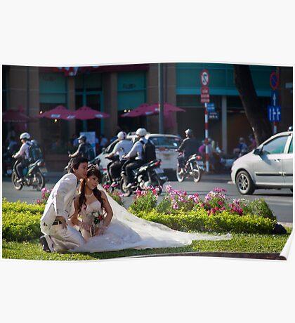Vietnam. Ho Chi Minh City (Saigon). Bride and Groom. Poster