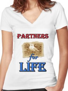 PARTNERS FOR LIFE Women's Fitted V-Neck T-Shirt
