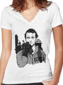 Ghostbusters Peter Venkman Bill Murray illustration Women's Fitted V-Neck T-Shirt
