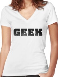 GEEK - Black Women's Fitted V-Neck T-Shirt