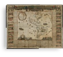 {New map of all America, corrected by F. de Wit} (Amsterdam, 1672) Canvas Print