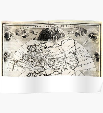1700 Cellarius Map of Asia Europe and Africa according to Strabo Geographicus OrbisClimata cellarius1700 Poster