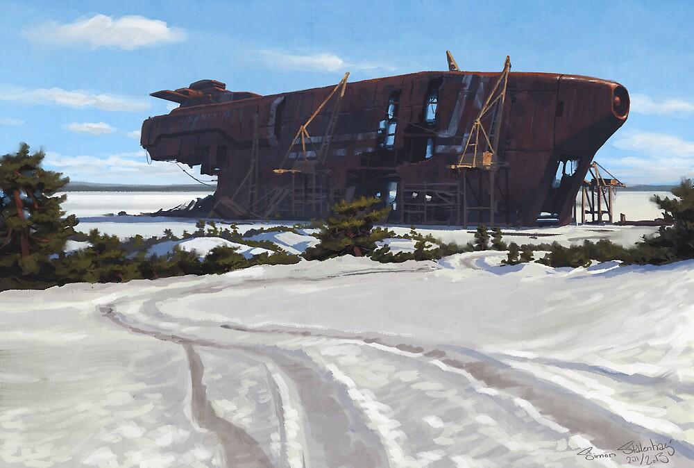 Vraket på Bastlagnö by Simon Stålenhag